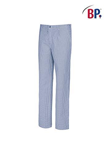 BP 1353-910-18-54 Koch-/Bäckerhose, mit Bundfalten und Taschen, 220,00 g/m² Reine Baumwolle, blau-weißes Hahnentrittmuster ,54