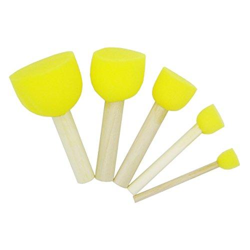 3 Sets Round Stencil Sponge Wooden Handle Foam Brush Furniture Art Crafts Painting Tool Supplies