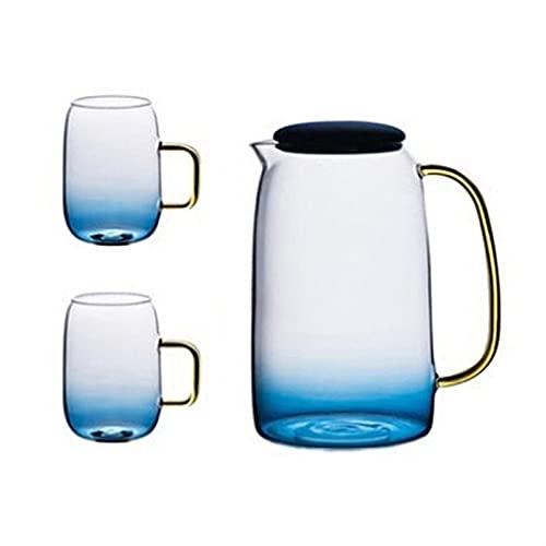 TTCI-RR Jarras Mármol Azul del Color del gradiente de la Botella de Agua fría de Cristal Conjunto Resistente a Altas temperaturas Tarro de Cristal Jarra Caldera Agua (Color : Set)