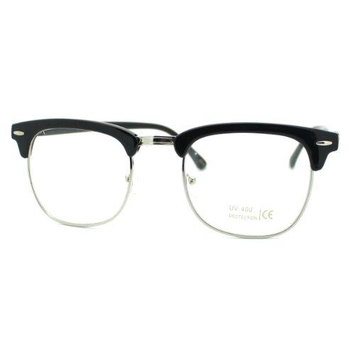 Black Silver Clear Lens Club Master Half Rim Fashion Eye Glasses