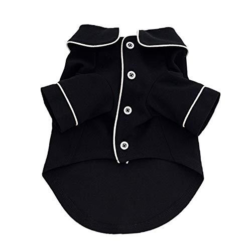 HKHJN Haustier-Kleidung, Hunde-Pyjama, britischer Stil, für vier Jahreszeiten, dünner Schlafanzug (Farbe: Schwarz, Größe: M)