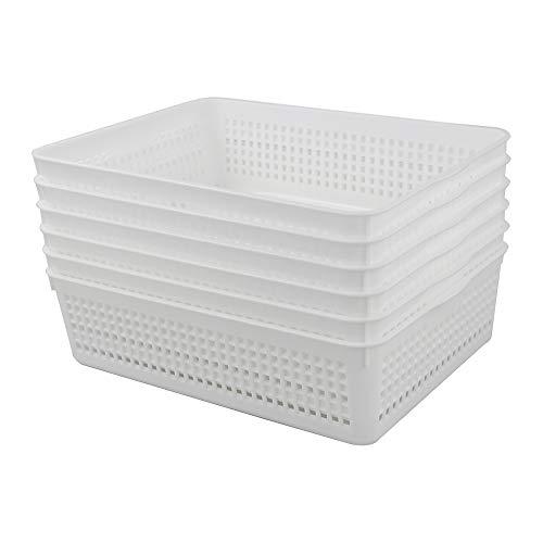 Yarebest Paquete de 6 cestas de plástico para organizar, bandeja de almacenamiento de papel A4, color blanco