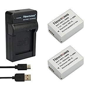 Newmowa NB-7L Batteria (confezione da 2) e Portable Micro USB Caricatore kit per Canon NB-7L Powershot SX30 IS, G12, SX30IS, G11, G10, CB-2LZ