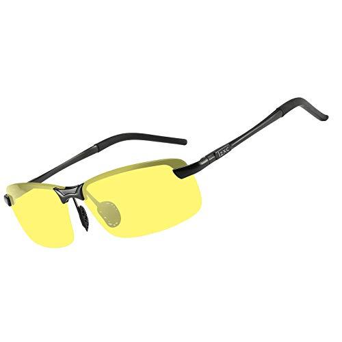 LZXC Herren Nachtsichtbrille, Polarisierte Nachtfahrbrille Autofahren Brille, Schwarzer Rahmen mit Nachtsichtlinse