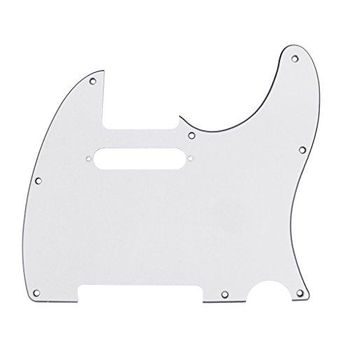 IKN 3Ply White 8-Loch Tele Pickguard Pick Guard Kratzplatte mit Schrauben Passend für USA/Mexican Fender Standard Telecaster Pickguard Ersatz