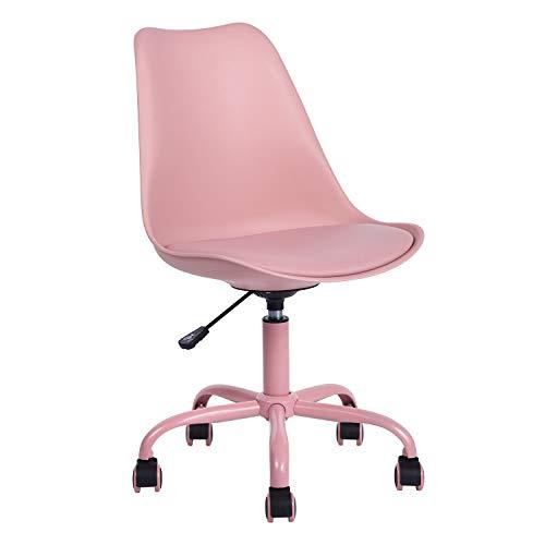 MEUBLE COSY BLOKHUS Pink Oficina sin reposabrazos, Silla de Escritorio de Piel sintética, Altura Ajustable, con Ruedas, Color Rosa, Poliuretano, 48x53x82–92cm