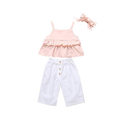 3 Stks Jonge Kinderkleding Meisjes Ruffled Shirt Broek Leggings Set Ruffled Fringed Halter Korte Vest Top