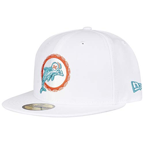 New Era Gorra 59Fifty Exclusive Miami DolphinsEra de Beisbol Baseball (7 3/4 (61,5 cm) - Blanco Crema)