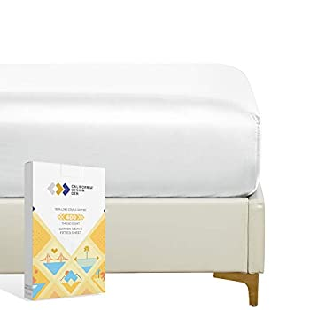 California Design Den 400 Thread Count 100% Cotton 1 Fitted Sheet Only Pure White Queen Fitted Sheet Long - Staple Combed Pure Natural Cotton Sheet Soft & Silky Sateen Weave