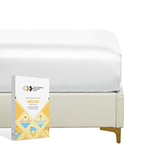 California Design Den 400 Thread Count 100% Cotton 1 Fitted Sheet Only, Pure White King Fitted Sheet, Long - Staple Combed Pure Natural Cotton Sheet, Soft & Silky Sateen Weave