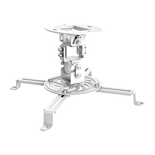PureMounts PM-SPIDER-10W - Neigbare und schwenkbare Deckenhalterung für Beamer und Projektor, Lochabstände bis 320mm, Deckenabstand 150mm, Tragkraft 13,5kg, Farbe weiß