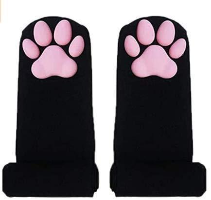 Calcetines altos de muslo, calcetines de color rosa para niñas y mujeres, calcetines de garra de gatito 3D, calcetines de pata de gato rosa para mujer
