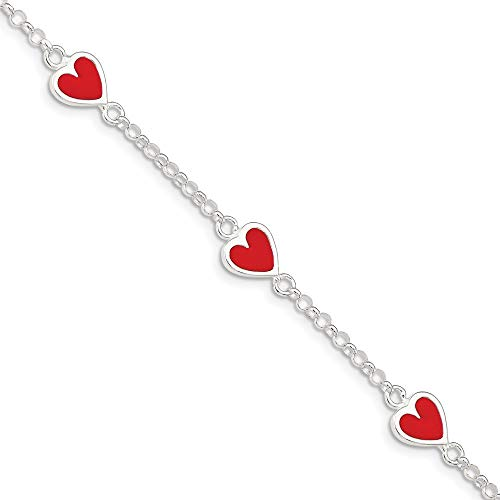 925 Sterling Silver Enamel Red Heart Childs Bracelet 6 Inch Fine Jewelry For Women Gifts For Her