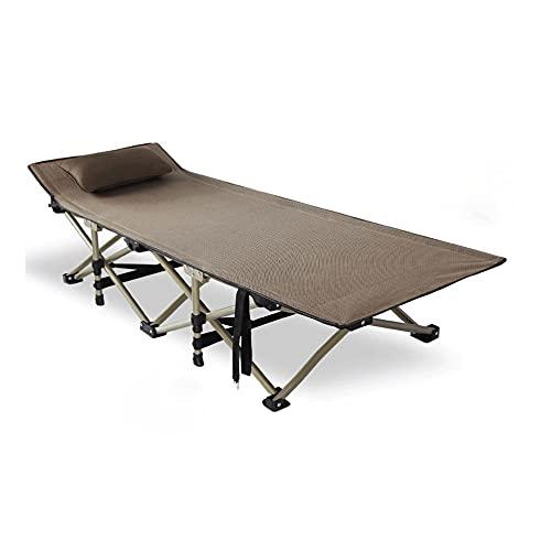WERCHW Cuna plegable de camping - Cama de una sola persona plegable de Deluxe en una bolsa con almohada para uso en interiores y al aire libre - Ultra ligero, cómodo, almuerzo Break Beet Sap siesta Ca