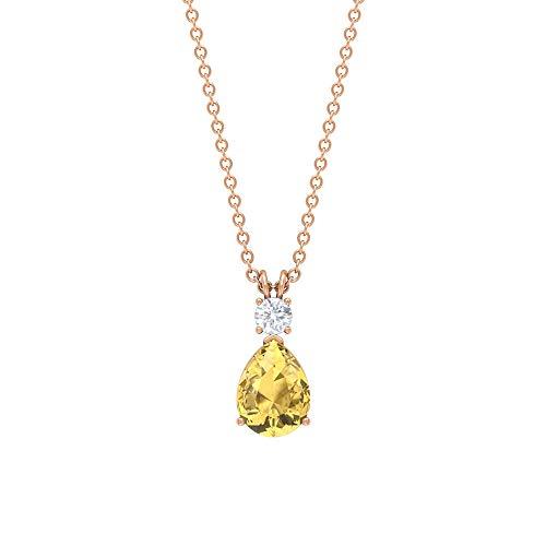 Colgante de lágrima de citrino, colgante de moissanita de 3 mm, collar solitario de oro (8 x 6 mm, citrino en forma de pera) de oro de 18 quilates amarillo