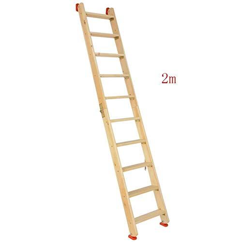 QX Stap kruk IAIZI Ladder Houten Vouwladder, Dubbele Zij-Zolder Trap, Multi-functie Huishoudelijke Rechte Ladder Draagbare Outdoor Klimmen Ladder