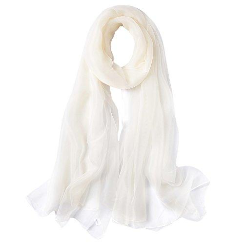 LA ORCHID Laorchid Chiffon Schal Stola Bolero Damen Für Kleid Festlich Hochzeit Braut Frühling Sommer Jacke Cremeweiß