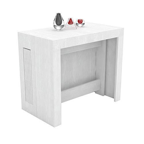 VE.CA.s.r.l. Tavolo consolle allungabile Karen con Porta allunghe in Legno - allungabile da 51,5 cm 300 cm, in 5 colorazioni - arredo Cucina casa Design (Bianco frassinato)