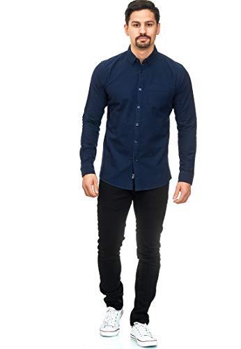 Indicode Herren Manorway Hemd einfarbig mit Brust-Tasche aus 100% Baumwolle | Regular Fit Langarm Herrenhemd leger bequem Sommerhemd LS Shirt langärmlig Freizeithemd für Männer Navy XXL