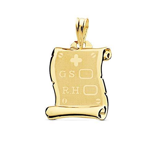 18k Gold-Anhänger 18mm Pergament. D.S. RH. matte Hintergrundhelligkeit Zaun Details