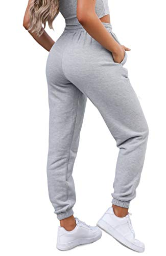 Waitfairy Womens High Waisted Sweatpants Drawstring Jogger Pants Loungewear Bottom Light Grey M
