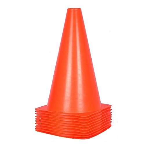 Alyoen 9 inch Traffic Cones - 10 Pack Soccer Training Cones for Outdoor Activity & Festive Events (Set of 10 or 20)- 5 Colors (Orange)