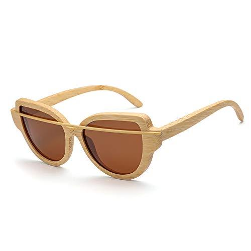 Sunglass Fashion Moda Tendencia Gafas de Sol Madera de bambú Gafas polarizadas Gafas de Sol de Madera (Color : Silver, Size : Free)