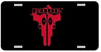 Deadpool Guns License Plate Gloss black