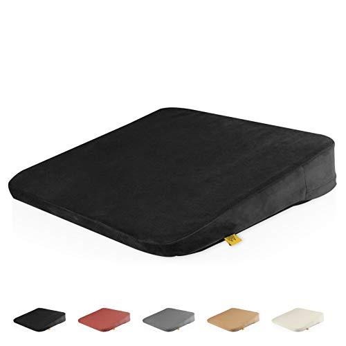 Mister Mountain® Premium Keilkissen - Bequemes Sitzkissen mit Anti-Rutsch-Funktion für Homeoffice und Büro – Sitzkeil für eine bessere Körperhaltung 38x33x7/2cm (Schwarz)
