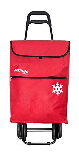 Bastilipo 7081 Julia Rojo-Carro de la Compra de 4 50 litros con Bolsa térmica y Ruedas Plegables, Normal