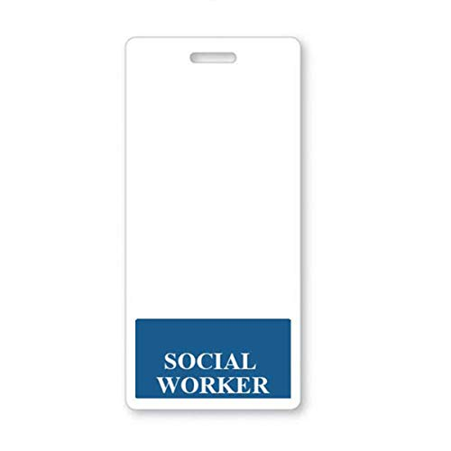 Social Worker Badge Buddy - Vertical Badge Buddies for Social Workers - Spill & Tear Proof Cards - 2 Sided USA Printed Quick Role Identifier ID Tag Backer by Specialist ID