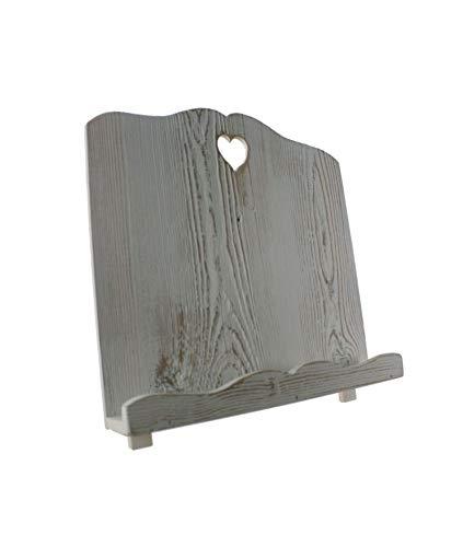 CAL FUSTER - Atril de Madera Maciza Envejecida Color Blanco Forma corazón. Medidas: 30x32x18 cm.