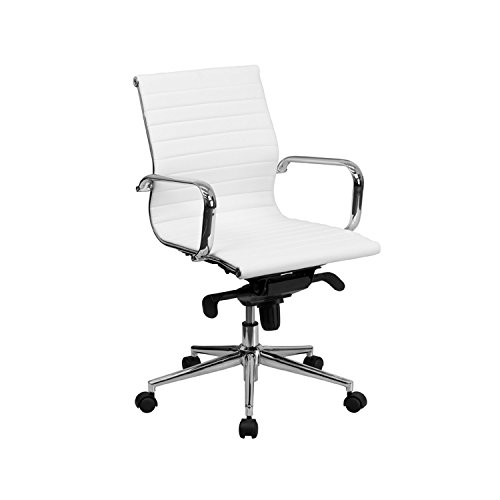 Mid-Back White Ribbed Upholstered Leather Conference Chair [BT-9826M-WH-GG] electronic consumers