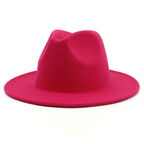 Ofgcfbvxd Ladies Top Hat Herbst- und Winter-Damen Jazz Woolen Top-Hut Ladies Banquet Top Hat (Color : Rose red, Size : 58cm)