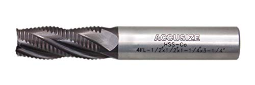 Accusize Industrial Tools Stadard Tooth M42 8% Cobalt Tialn Roughing End Mill, 1/2'' by 1/2'' by 1-1/4'' Flt Length, 1102-0012