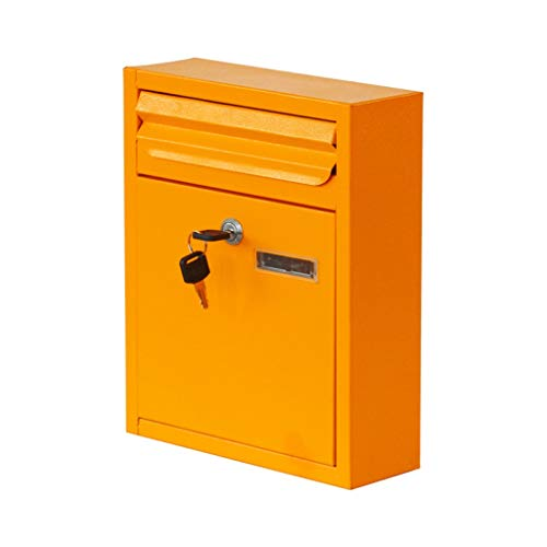 ZhuFengshop Mailbox Milieuvriendelijk Bakken Mail Box Waterdichte Regendichte Muur Met Lock Book Krant Magazine Mail Box Suggestion Box Poilbox Geel Outdoor slot brievenbussen, Appartement, Tuin