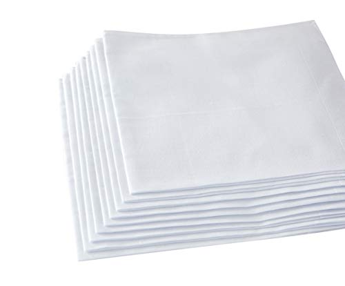 Men's Handkerchiefs,100% Soft Cotton,White Hankie (White, Pack of 6 Pieces)