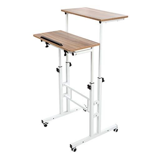 SIDUCAL Mobile Stand Up Desk, Adjustable Laptop Desk with Wheels Home Office Workstation, Rolling Table Laptop Cart for Standing or Sitting, Vintage Oak