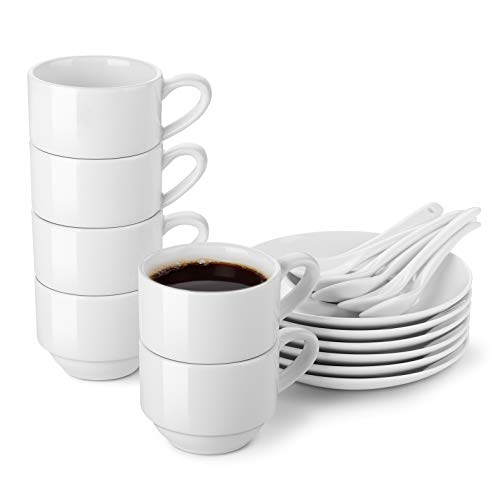 LIFVER Espresso Cups and Saucers with Spoons Set of 6, 2.5 oz Porcelain Demitasse Cups, Stackable Espresso Mugs with Protective Packaging, White