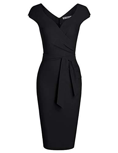 MUXXN Womens Little Black Sweetheart Collar Ruched Slim Business Dress (Black S)