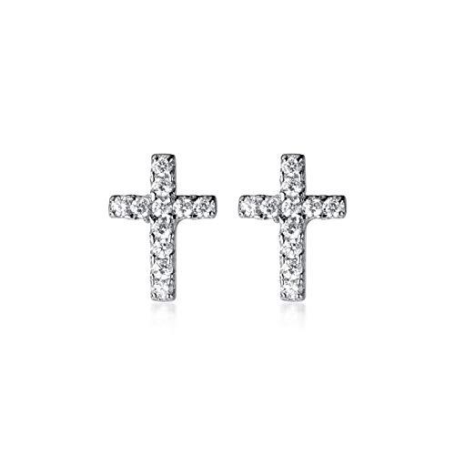 HUYV Pendientes para Mujer,Pendientes De Circonita De Mosaico Cruzado De Moda Pendientes De Botón De Plata 925 para Regalo De Joyería De Cumpleaños De Navidad Hombres Niñas