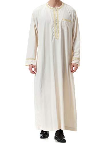 Qianliniuinc Muslimische Kleider Herren Islamische Maxikleid -Kaftan Abaya Männer Muslim Kleidung Langarm Lang Jalabiya (Beige,XXXL)