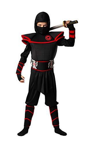 Kids Ninja Costume by BadBear – Boys or Girls Fancy Dress Ninja Costume – 7pc Ninja Halloween Costume for Boys – Premium Quality Toddler Ninja Costumer from 4-12 Black