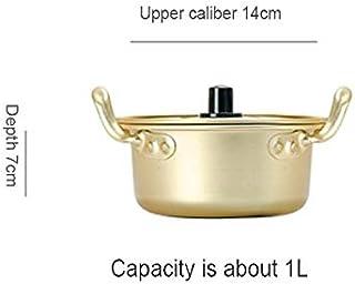 Zcm Cacerola de Leche Creativa Sopa de Fideos Pot Coreana de Aluminio Olla con Tapa Fideos de Huevo Leche crisol de cocinar el Desayuno Ensaladera de Oro de Cocina Utensilios de Cocina (Color : 1L)