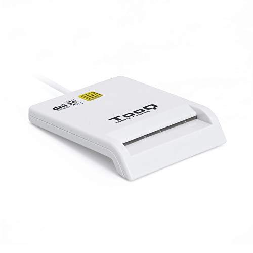 Tooq TQR-210W - Lector Externo de DNI Electrónico y Tarjetas Inteligentes (DNIe) USB 2.0, Color Blanco, 480 Mbps