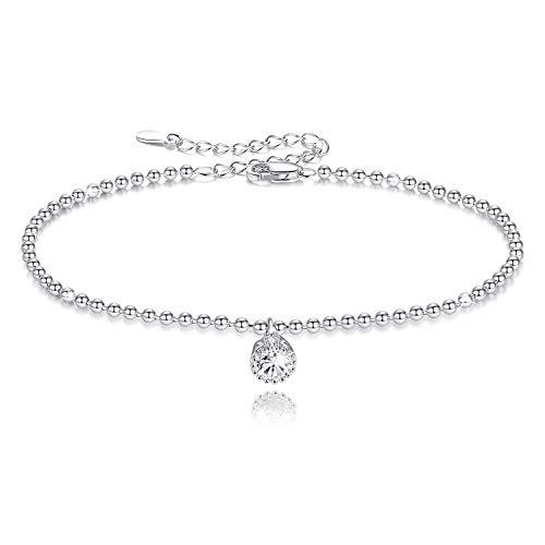 GDDX Braccialetti regolabili con catena a sfera Braccialetto in argento sterling con zirconi cubici Regali di gioielli per donna