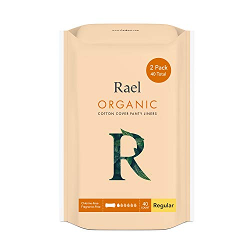 Rael Certified Organic Cotton Panty Liners, Regular - Unscented Pantiliners - Natural Daily Pantyliners, 6 Inch, 40 Count (Pack of 1)