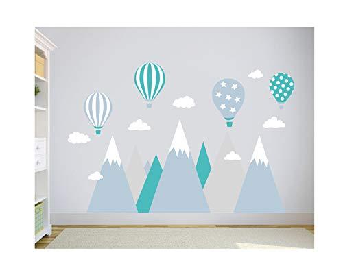 wandtattoo kinderzimmer berge Aufkleber Wandaufkleber Nordic Berg Baby Kindergarten Zimmer Gebirge luftballons Ballons Ballon Wolken Wolke Landschaft Wanddeko Baby Kinder Sticker 247 cm x 165 cm G10L