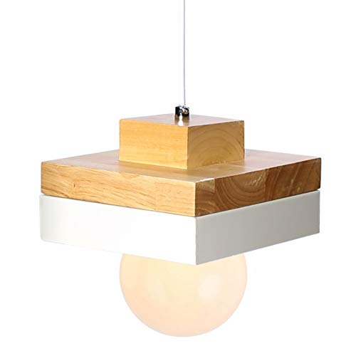 Metal Lámpara de Techo Araña Colgante de Luz Vintage Pantalla Cuadrada de Madera Perfecto para Sala de Estar Isla de Cocina (Blanco)