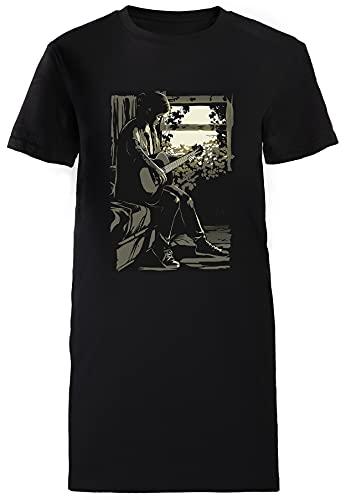 Ellie Camiseta Mujer Largo Vestir Negra T-Shirt Women's Long Dress Black